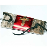 Hair-On Bull Rope Pad with Metallic Cross Flap Over