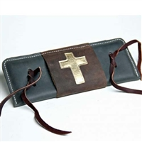 Leather Bull Rope Pad with Metallic Cross Flap Over