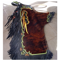 Brindle Hair On Black Fringe Chaps